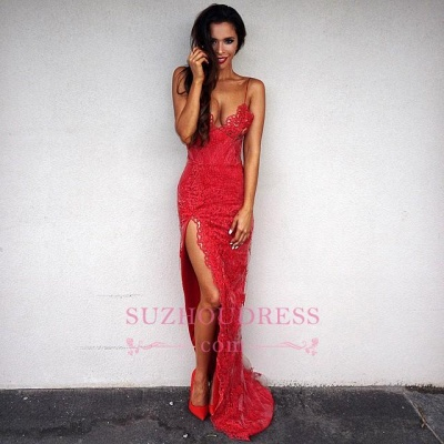Side-Slit Backless  Red Spaghetti-Straps Sexy Lace Evening Dresses JJ0076_3