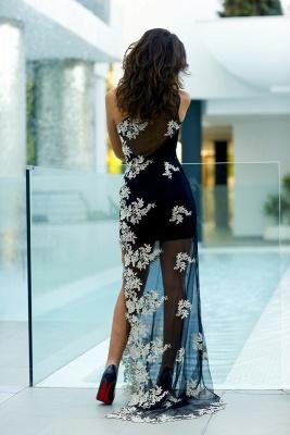 Black Sheath One Shoulder Prom Dress Tulle Side Slit White Applique Party Dresses_4