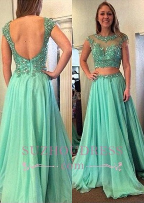 Cap Sleeve A-line Open Back Evening Gown Jewel Beading Long Prom Dress_3