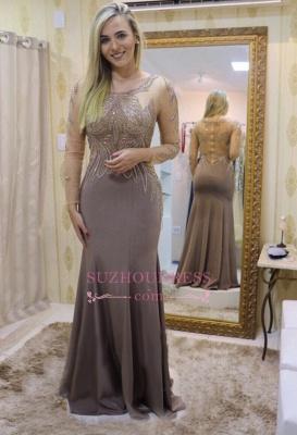 Mermaid Long-Sleeve Evening Dresses  | Elegant Scoop Crystal Prom Dresses_1