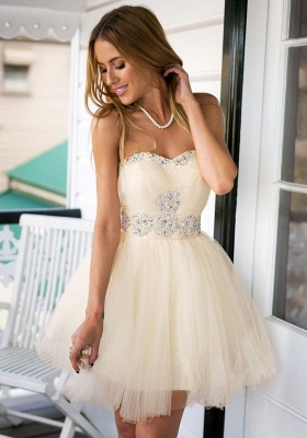 Strapless Cute Tulle Short Homecoming Dresses Crystal Beading  Lovely Prom Dresses_3
