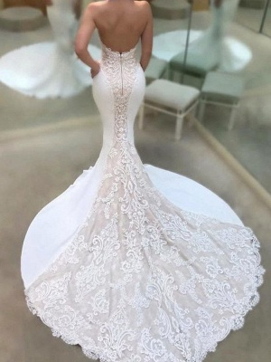 Glamorous Mermaid Open Back Wedding Dresses Strapless Lace Bridal Gowns Online_3