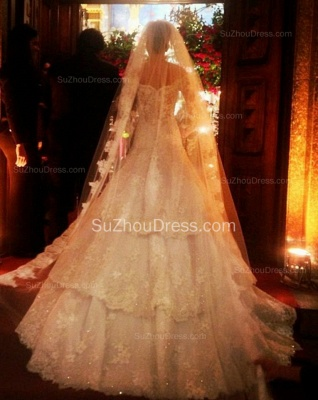 Beautiful White Lace Off Shoulder Long Sleeve Wedding Dresses Court Train Elegant Fitted Formal Bridal Gowns_2