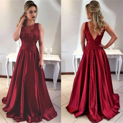 Sleeveless Burgundy Prom Dress A-line Sheer Tulle Appliques Long Formal Evening Gown_3