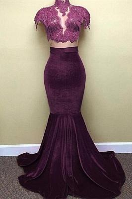 Red Lace Mermaid Popular High-Neck Velvet Cap-Sleeves Prom Dress BA5155_4