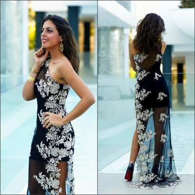 Black Sheath One Shoulder Prom Dress Tulle Side Slit White Applique Party Dresses_5
