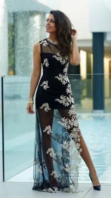Black Sheath One Shoulder Prom Dress Tulle Side Slit White Applique Party Dresses_1