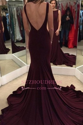 Court Train Backless Evening Gown Sheath Sexy  Maroon Prom Dress_3