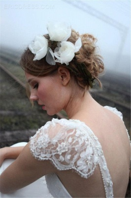 V-neck Summer Outdoor Wedding Dress Lace Cap Sleeve Open Back Bridal Gowns_4