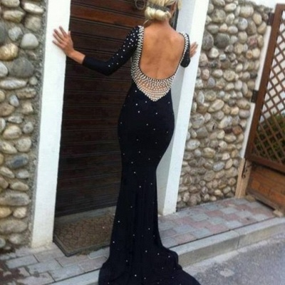 Long Sleeve Mermaid Sexy Prom Gowns  Scoop Open Back Beadings Evening Dresses_2