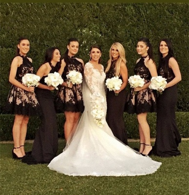 High Neck Black Lace  Short Bridesmaid Dresses_3