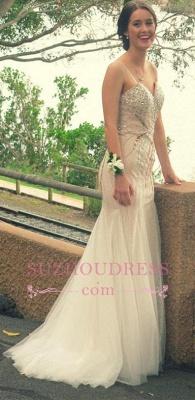 Mermaid Spaghetti Straps Long Prom Dress  Beading Strapless Evening Dresses_3