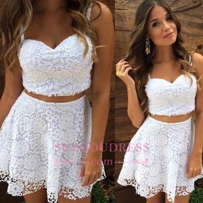 A-line White Lace Formal Dress  Top Short Two Piece Summer Women Dress_1