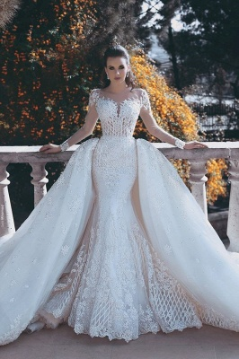 Long Sleeve Lace Appliques Mermaid Wedding Dress  Overskirt Long Train Bride Dress WE0199_1