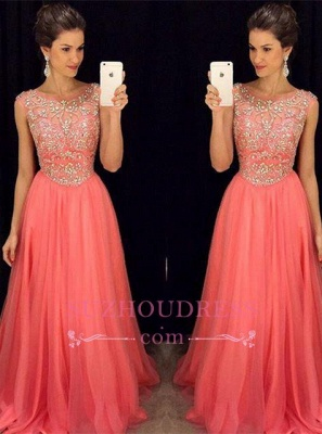 Tulle Sleeveless Crystal A-Line Popular Scoop Prom Dress  GA072 BA4795_3