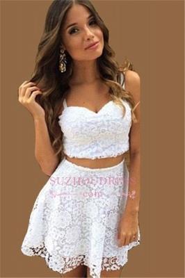 A-line White Lace Formal Dress  Top Short Two Piece Summer Women Dress_2