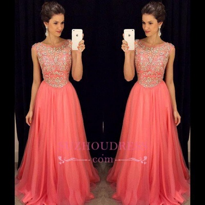 Tulle Sleeveless Crystal A-Line Popular Scoop Prom Dress  GA072 BA4795_1