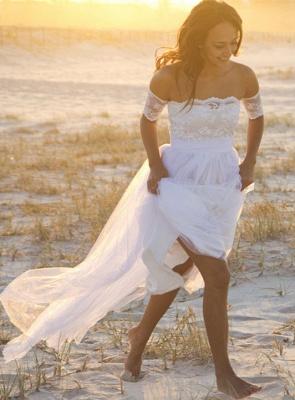 Bateau Short Sleeve White Chiffon Wedding Dress Latest Simple Lace Summer Beach Bridal Gowns_2