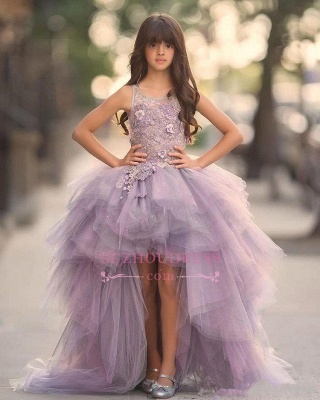 Glamorous Hi-Lo Sleeveless Appliques Scoop Tulle Pageant Dress_3