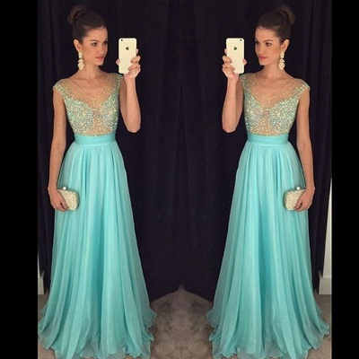 Crystal V-Neck Sleeveless  Prom Dresses New Arrival A-Line Natural Party Gowns_3