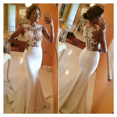 Sexy Gorgeous Mermaid Prom Dress Long Lace Sleeveless Evening Party Gowns_2