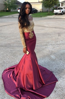 Gold Lace Appliques Off The Shoulder Evening Gowns Long Sleeve Mermaid  Prom Dress CE0071_3