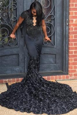 Short Sleeve Black Lace Sexy Prom Dresses   Flowers Long Train Sheath  Graduation Dress_1