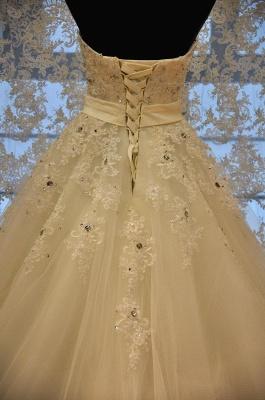 Crystal Lace Sweetheart  Bridal Dresses Chapel Train Elegant Lace-Up Wedding Dresses_3