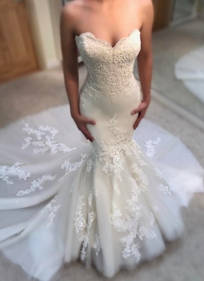 Gorgeous Sweetheart Lace Appliques Wedding Dresses Summer Mermaid Bridal Gowns Online_1