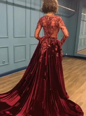 Elegant Long Sleeve Burgundy Prom Dress Velvet Evening Gowns With Lace Appliques_5