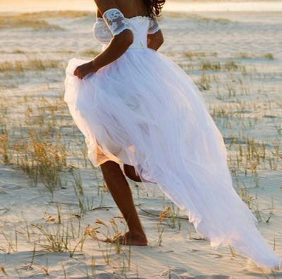 Bateau Short Sleeve White Chiffon Wedding Dress Latest Simple Lace Summer Beach Bridal Gowns_4