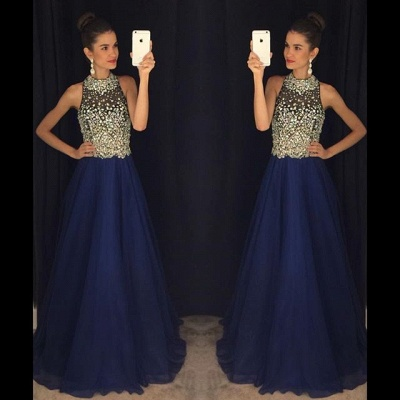 New Arrival Beading A-Line  Prom Dress Crystal Sleeveless Evening Gown_3