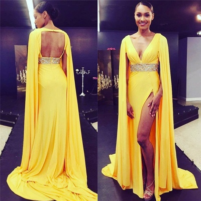 Deep V-neck Open Back Sexy Evening Dresses  Yellow Sexy Slit Formal Dress with Cape BA7897_3