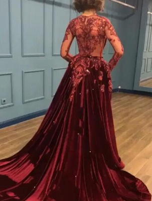 Elegant Long Sleeve Burgundy Prom Dress Velvet Evening Gowns With Lace Appliques_6