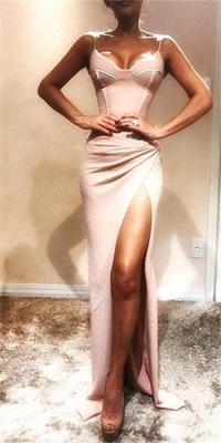 Sexy Spaghetti Straps Sheath Evening Dresses | Side Slit Ruffles Party Dresses_1