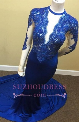 Sheath Scoop Royal-Blue Lace Long-Sleeve Appliques Tulle Sheer Prom Dress_4