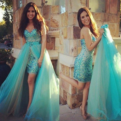 Cute Sweetheart Crystal  Evening Gown New Arrival Detachable Tulle Prom Dress_3