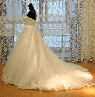 Crystal Lace Sweetheart  Bridal Dresses Chapel Train Elegant Lace-Up Wedding Dresses_2