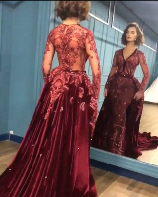 Elegant Long Sleeve Burgundy Prom Dress Velvet Evening Gowns With Lace Appliques_3