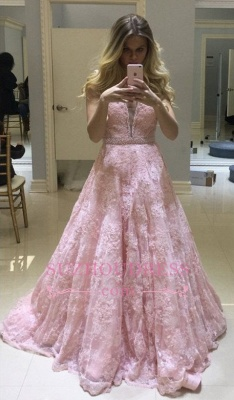 Pink Lace Long V-neck Evening Dresses |  Fashion Sheer A-line Prom Dress_3