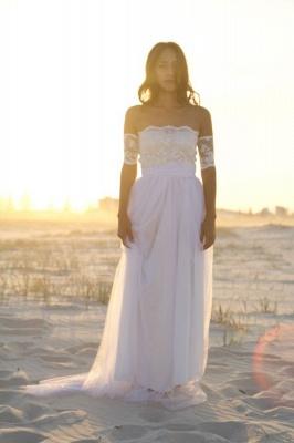 Bateau Short Sleeve White Chiffon Wedding Dress Latest Simple Lace Summer Beach Bridal Gowns_1