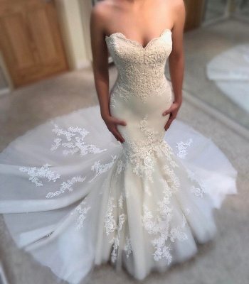 Gorgeous Sweetheart Lace Appliques Wedding Dresses Summer Mermaid Bridal Gowns Online_3