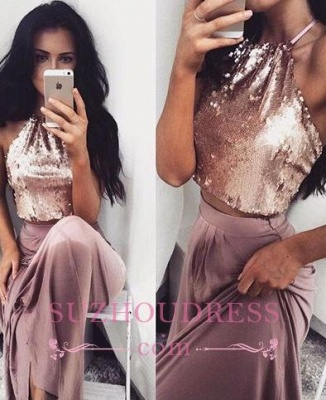 Two-Piece Sleeveless Long Halter-Neck Glossy Sequins Prom Dresses BA4434_3