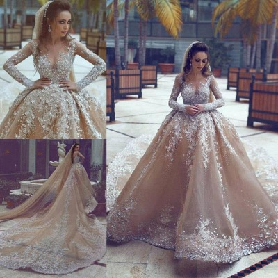 Appliques Ball-Gown Long-Sleeve Beadings Luxurious Wedding Dress_4