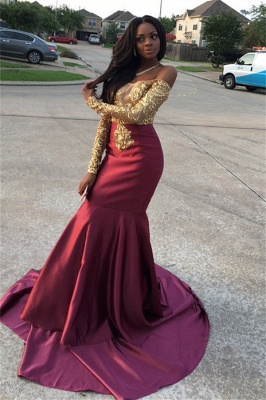 Gold Lace Appliques Off The Shoulder Evening Gowns Long Sleeve Mermaid  Prom Dress CE0071_4