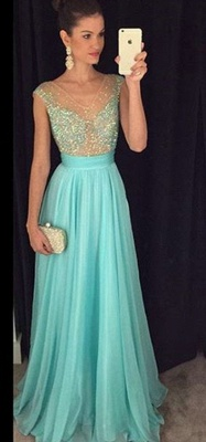 Crystal V-Neck Sleeveless  Prom Dresses New Arrival A-Line Natural Party Gowns_1