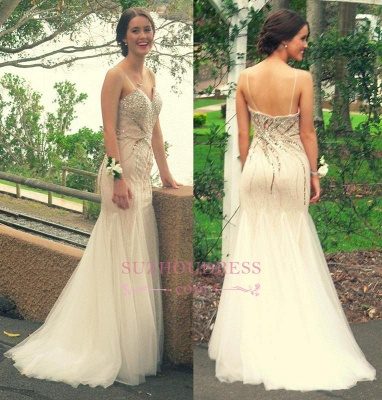 Mermaid Spaghetti Straps Long Prom Dress  Beading Strapless Evening Dresses_1