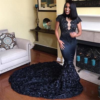 Short Sleeve Black Lace Sexy Prom Dresses   Flowers Long Train Sheath  Graduation Dress_3