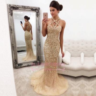Gorgeous Sleeveless Zipper-Back Halter Mermaid Crystals Prom Dress SP0389_1