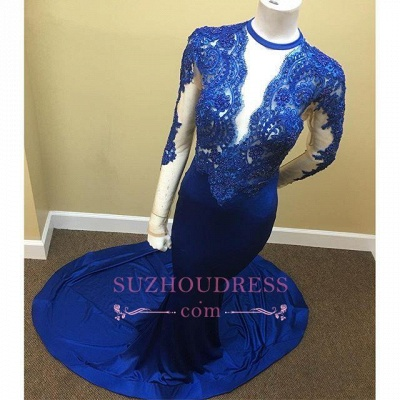 Sheath Scoop Royal-Blue Lace Long-Sleeve Appliques Tulle Sheer Prom Dress_1